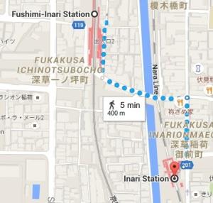 Stasiunnya namanya Fushimi Inari ya, bukan Inari