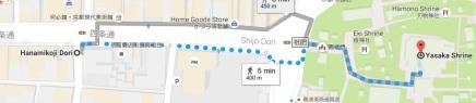 dari Hanamikoji Dori, jalan kaki ke bus stop di depan Yasaka Shrine ya